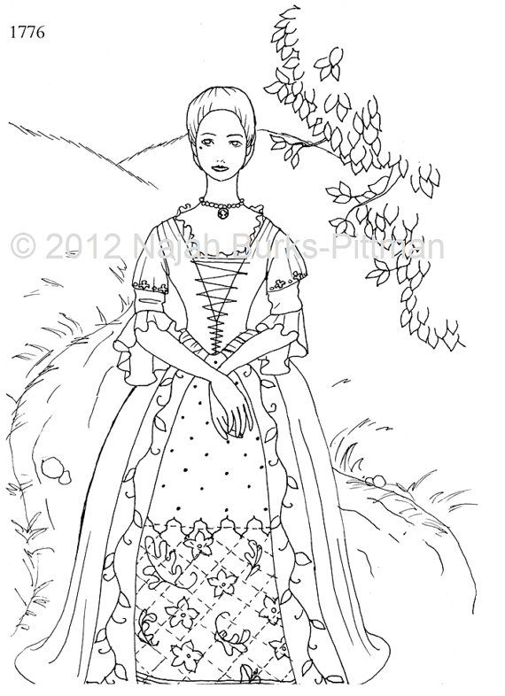 Woman in 1776 Dressing Up Through History Coloring Page these