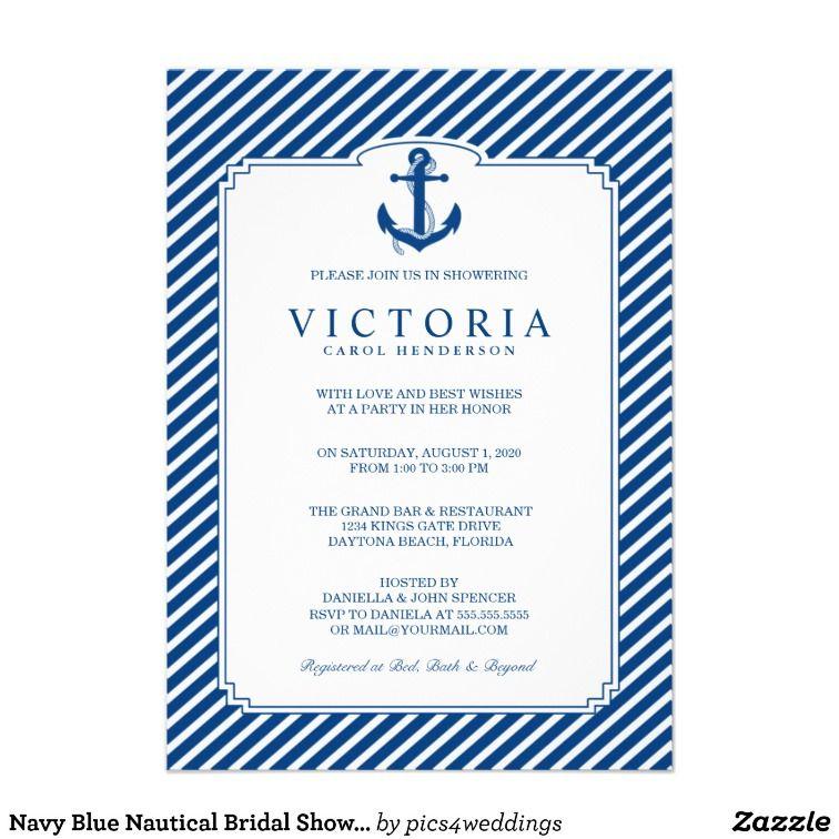 Navy Blue Nautical Bridal Shower Invitation Bridal shower