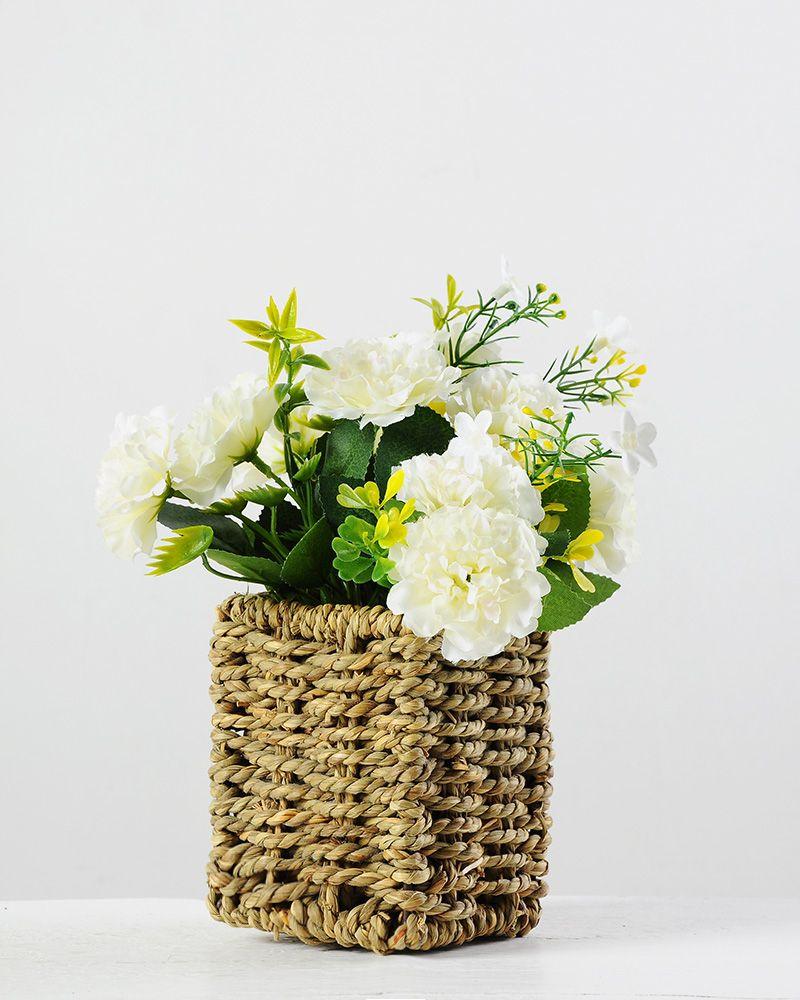 19cm carnation silk flower in sea grass basket artificial potted 19cm carnation silk flower in sea grass basket mightylinksfo