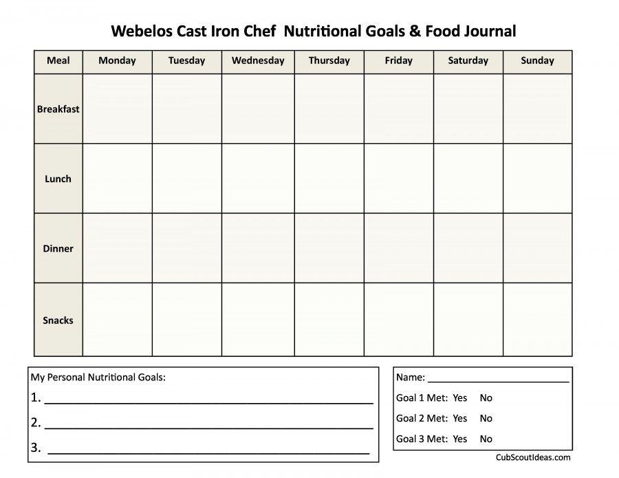 Webelos Food Journal Template Diario De Comida, Revistas Y Comida   Food  Diary Template Free  Food Journal Template Free