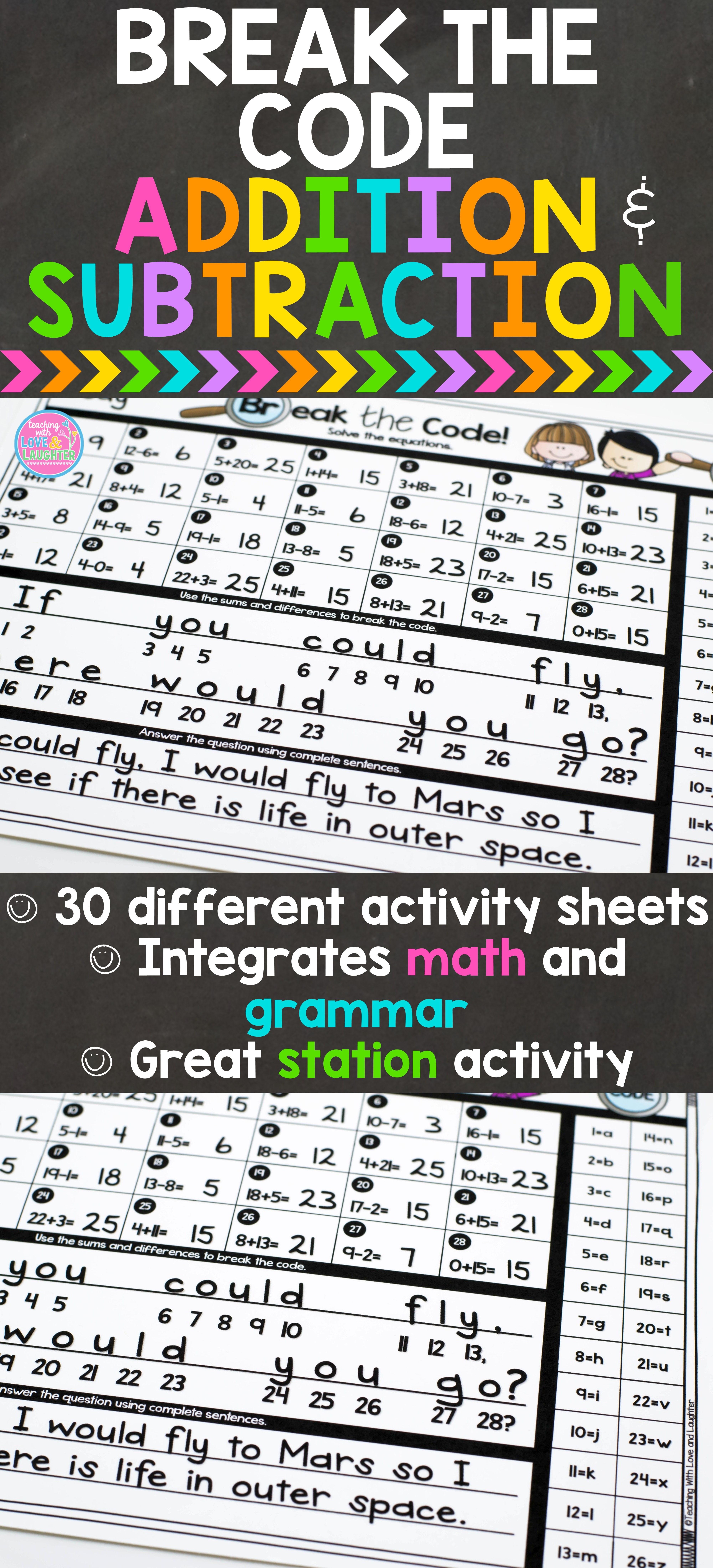 Break The Code Is A Fun Way For Students To Practice Addition And Subtraction As Well As