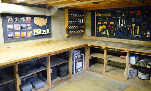 Adding function fun to our basement pegboard garage for Small basement workshop ideas