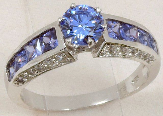 Sapphire CZ on solid Sterling Silver Ring SZ 5-10. Starting at $10 on Tophatter.com!