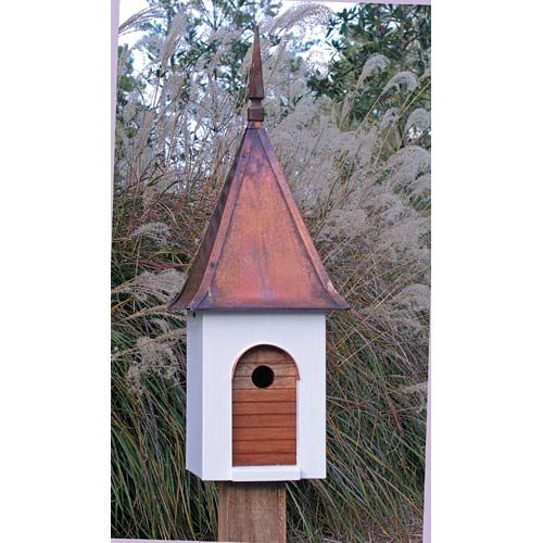 French Villa White With Brown Copper Roof Birdhouse Heartwood Birdhouses Bird Feeders Bi Decorative Bird Houses Unique Bird Houses Bird House