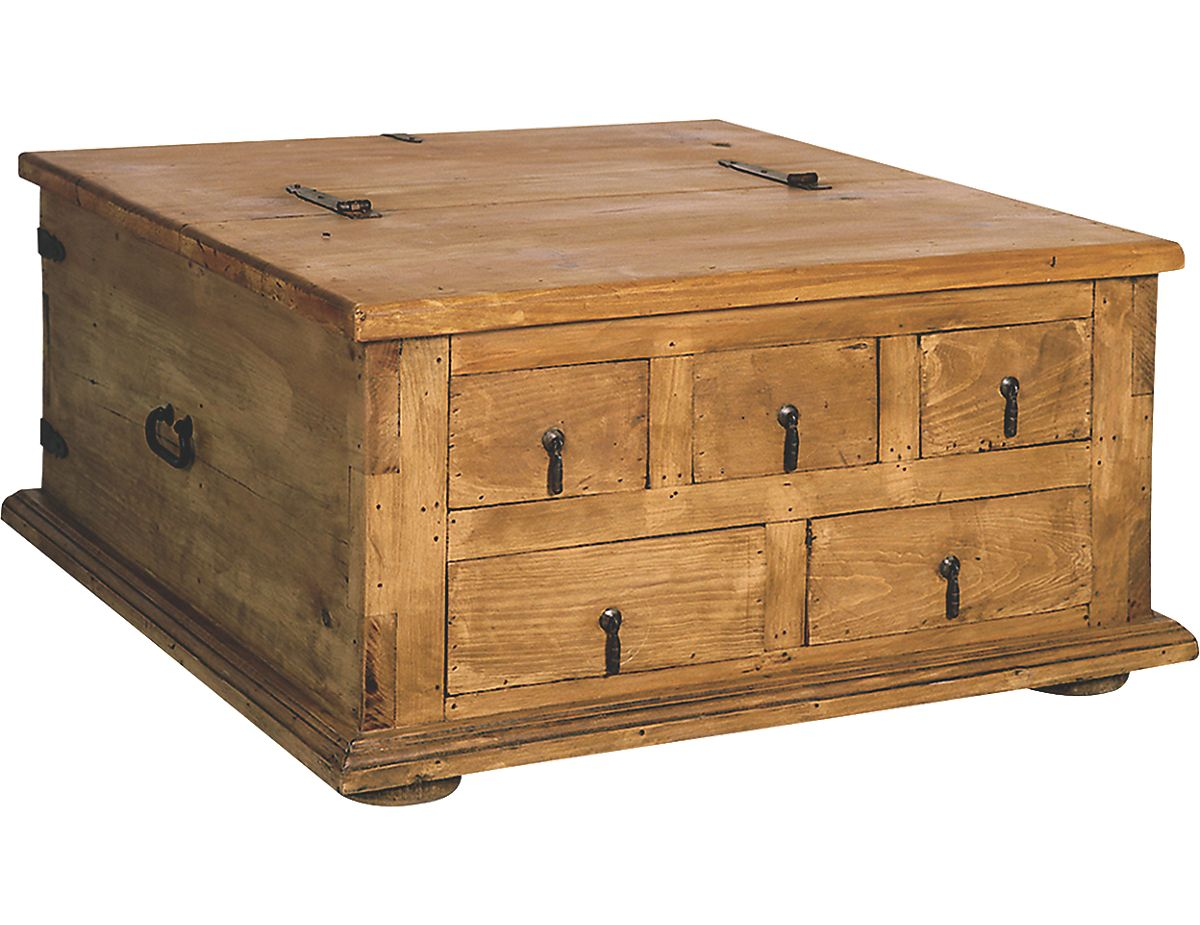 Santa Fe Solid Pine Trunk Style Coffee Table With Storage Arc 9