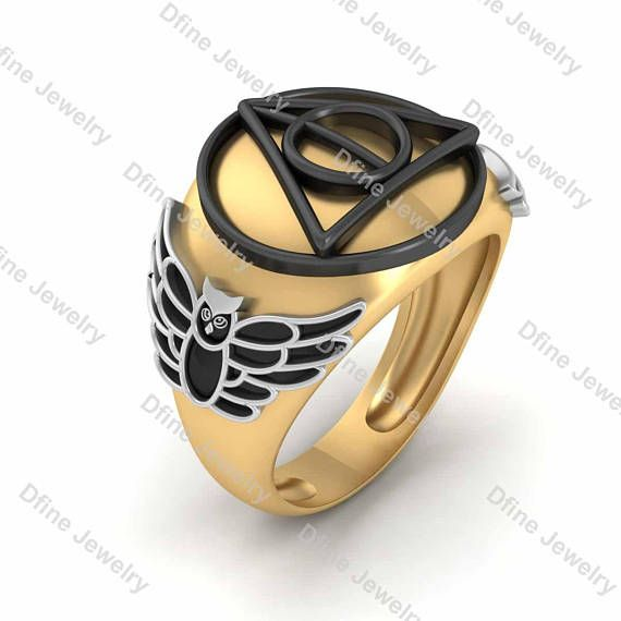 Wedding Band Mens Harry Potter Ring Cosplay Sci Fi Movie Deathly
