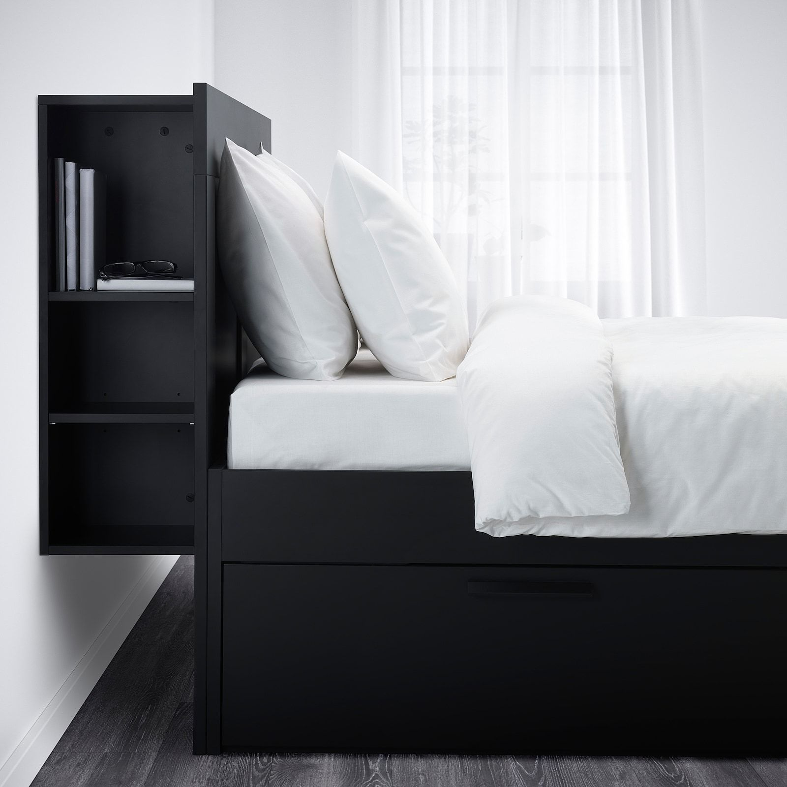 Brimnes Bed Frame With Storage Headboard Black Luroy Queen