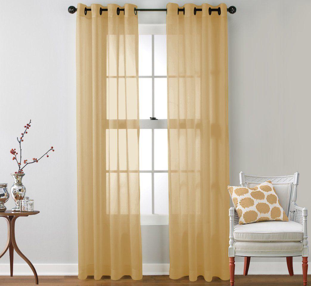 Amazon hlcme piece sheer window curtain grommet panels