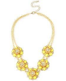 M. Haskell for INC Gold-Tone Yellow Flower and Crystal Statement Necklace