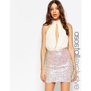 ASOS TALL Sequin Mini Dress With Plunge