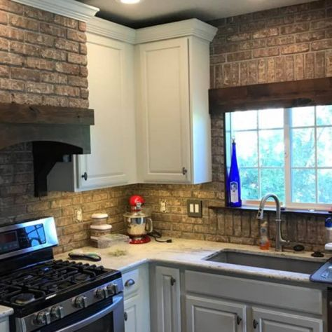 Kitchen remodel Beautiful brick backsplash with cream color