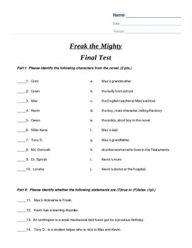 freak the mighty final test multiple choice final test and  this test covers the entire novel freak the mighty it includes character identification true false multiple choice short answer and essay