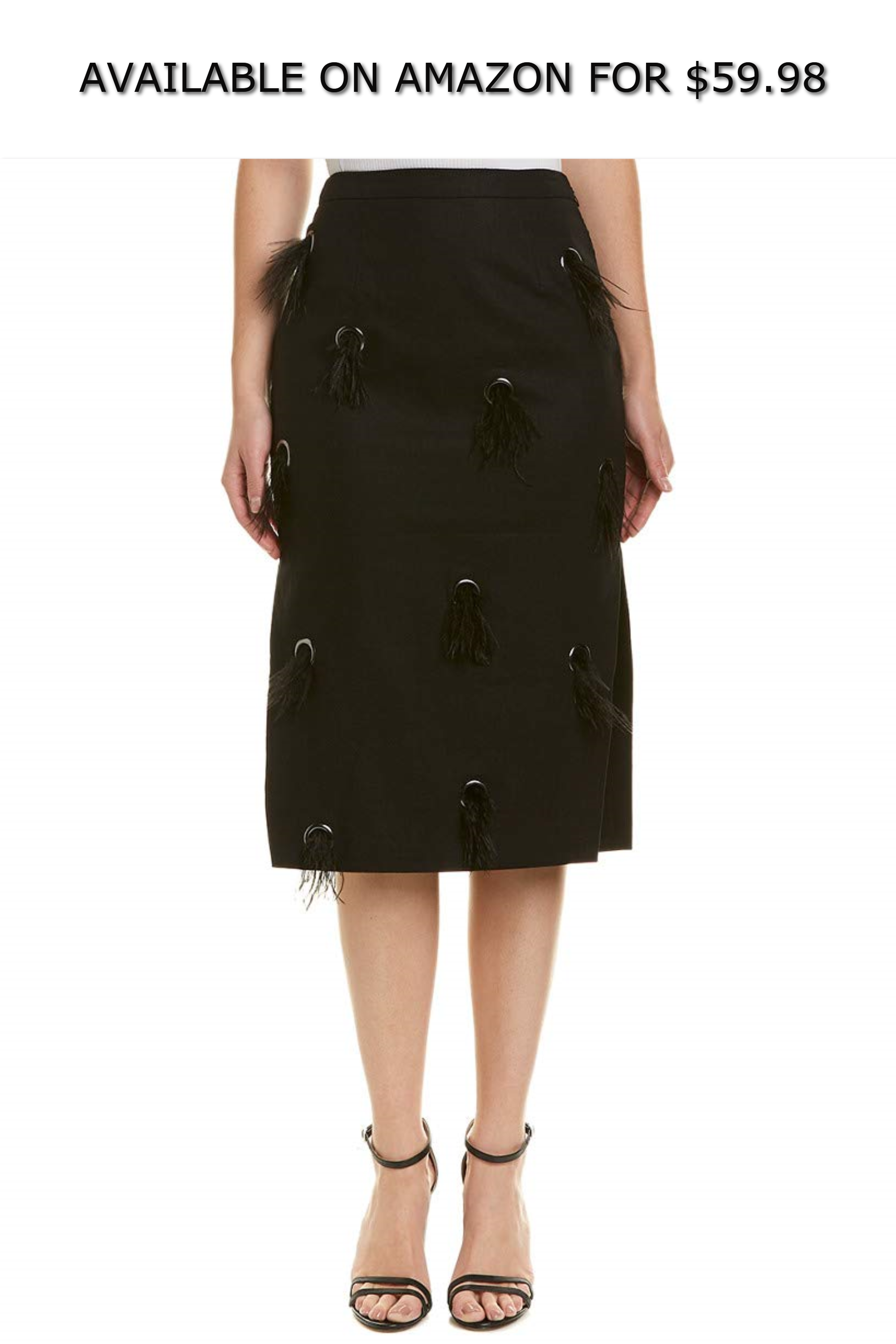 71f6f5541c Isla Womens Feather Linen-Blend Midi Skirt, S, Black ◇ AVAILABLE ON AMAZON