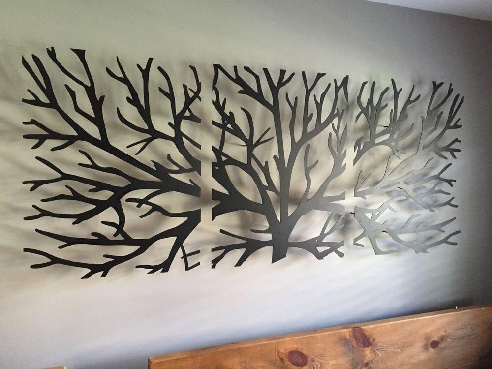 details about metal wall art decor 3d sculpture 3 piece tree brunch modern fireplace