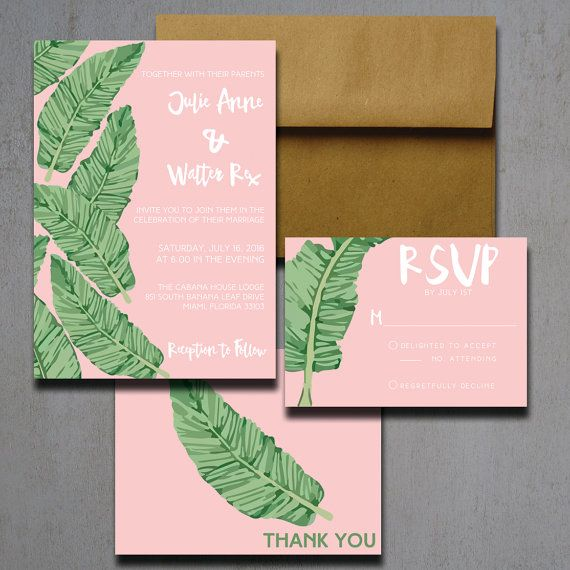 Pink Banana Leaf Wedding Invitations Palm By HeartwoodPaperie