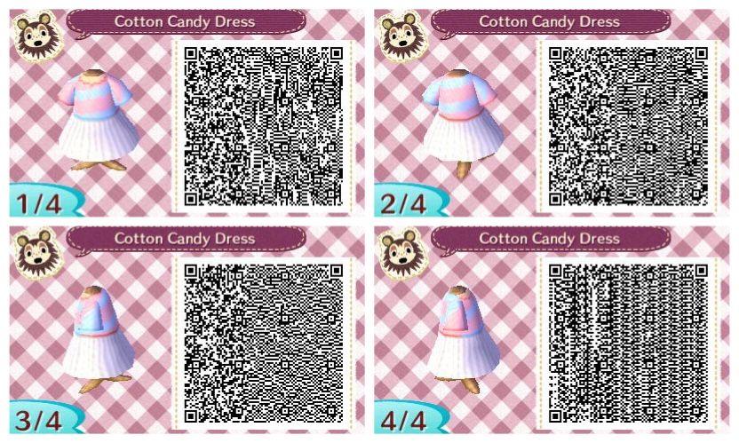 Cotton Candy dress Animal crossing qr, Animal crossing