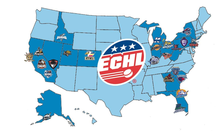 Echl The ECHL Premier AA Hockey League  ECHL Team - Map of new york penn league teams