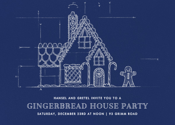 Gingerbread blueprint dark blue by paperless post send custom holiday invitations online and paper malvernweather Choice Image