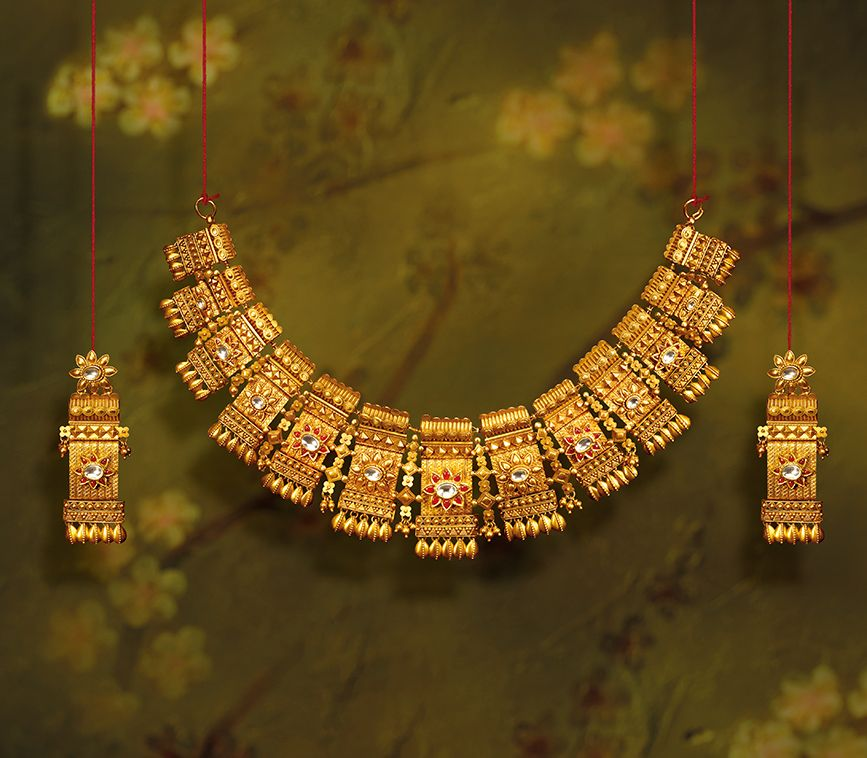 Tanishq Utsava Gold Necklace 1 Bridal Gold Jewellery Gold Jewelry Fashion Gold Necklace Indian Bridal Jewelry