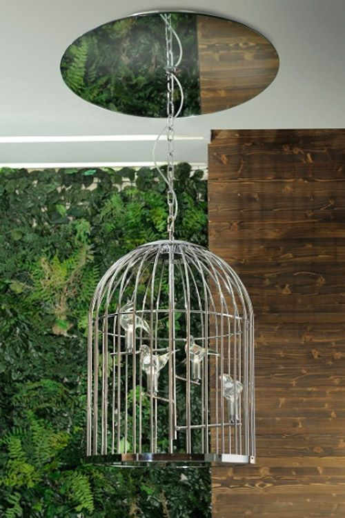 Pendant lamp: one big cage with four crystal handmade birds. Chrome ...