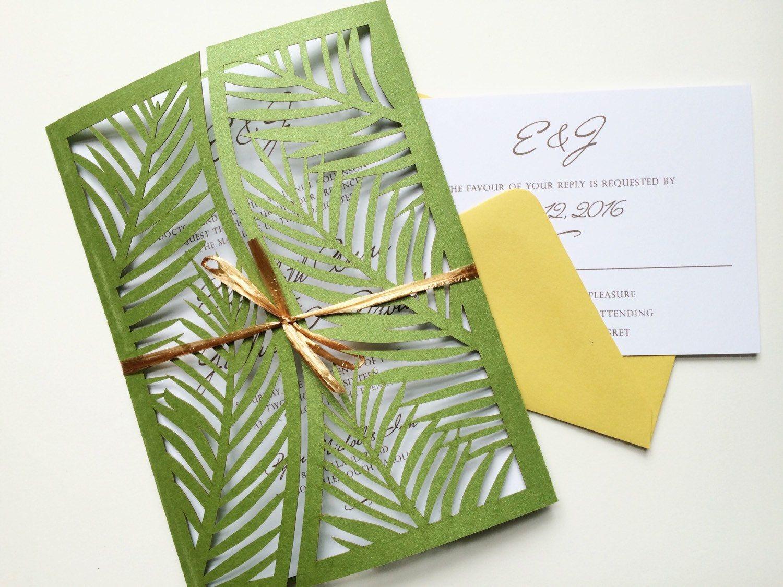 laser cut palm leaf tree wedding invitation gatefold style green
