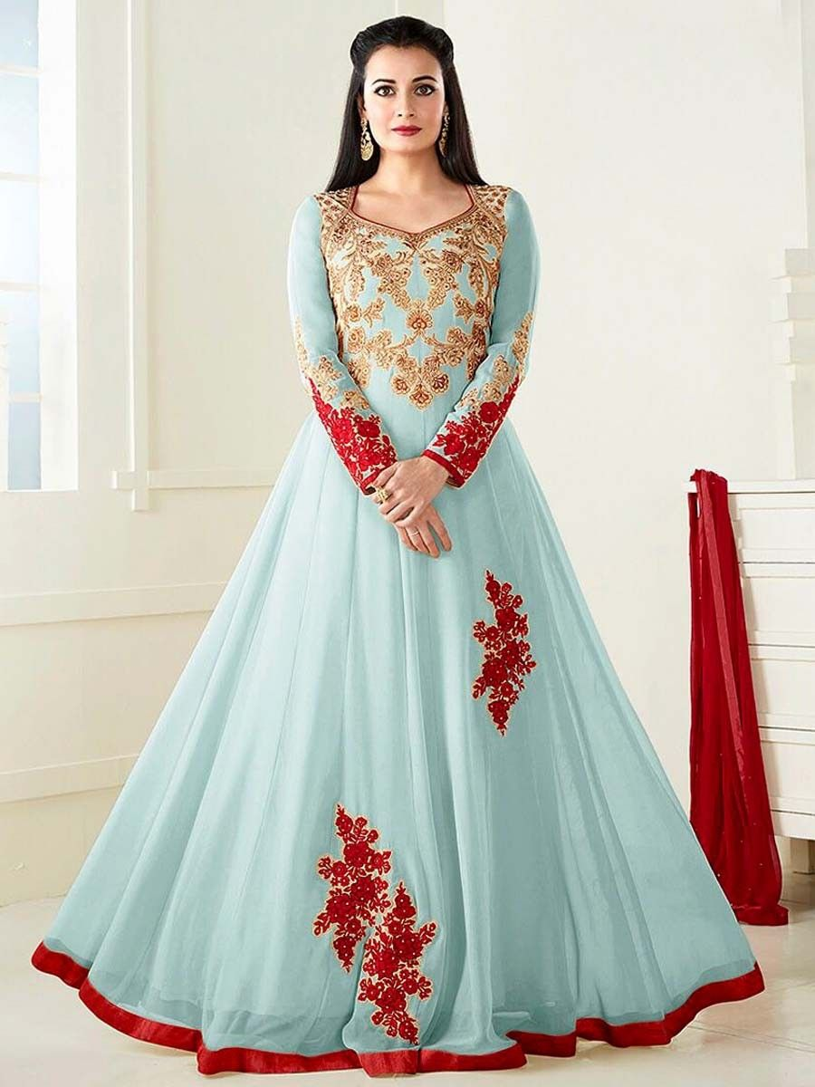 d5491182ad5 Buy Beige Floral Embroidered Anarkali Suit at Rs. Get latest Anarkali at  Peachmode. Dazzling dusty blue color georgette ...
