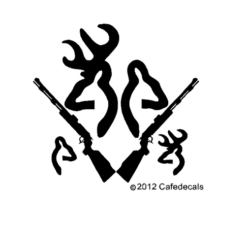 Browning Tattoo Inch Deer Buck Doe With Rifle And Babies Decal - Browning vinyl decals