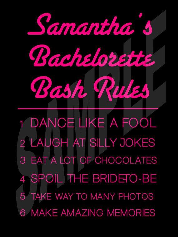 fun bachelorette party rules sign bridal companies wedding