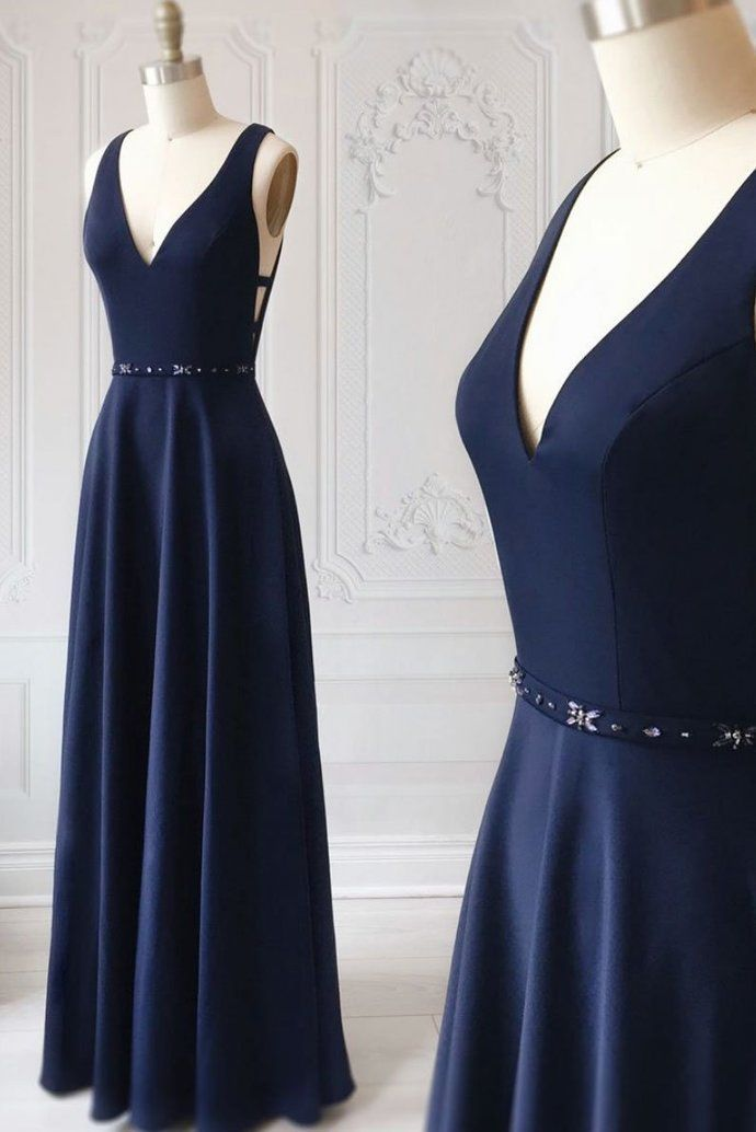 Photo of SIMPLE BLUE V NECK LONG PROM DRESS, BLUE EVENING DRESS