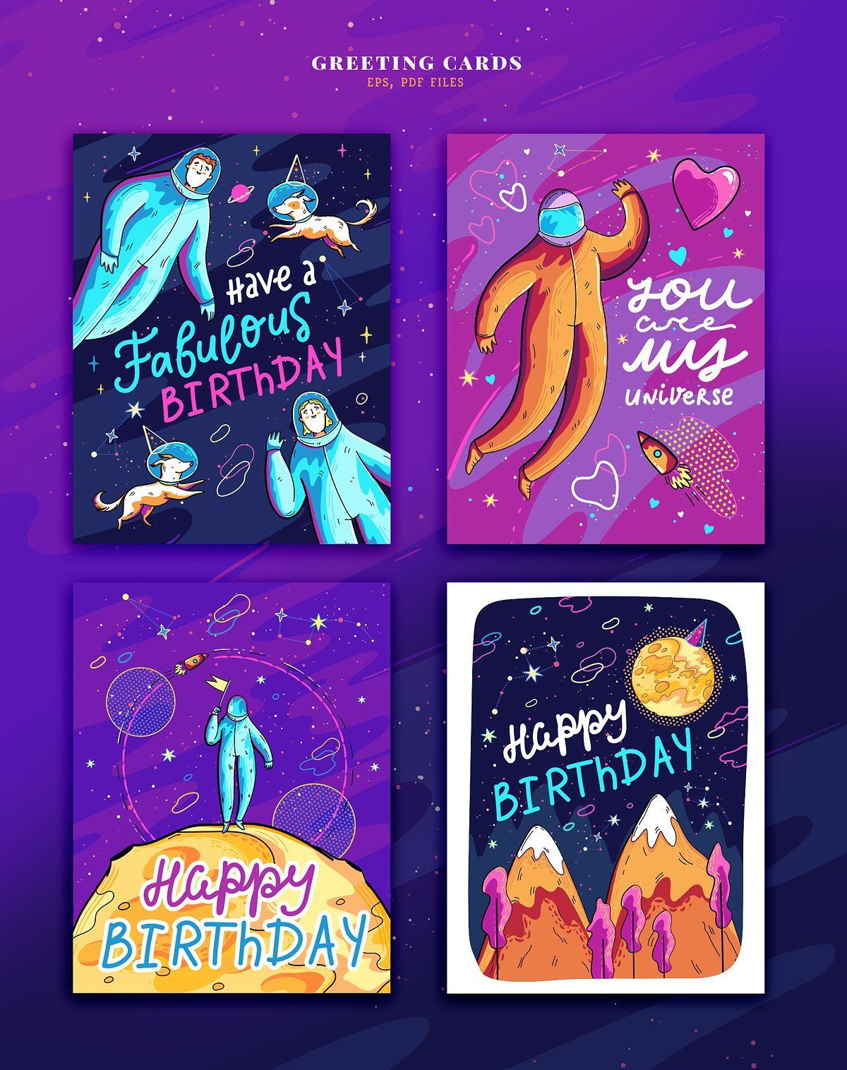 Colorful Space Collection Colorful Space Postcard Template Space Birthday Party