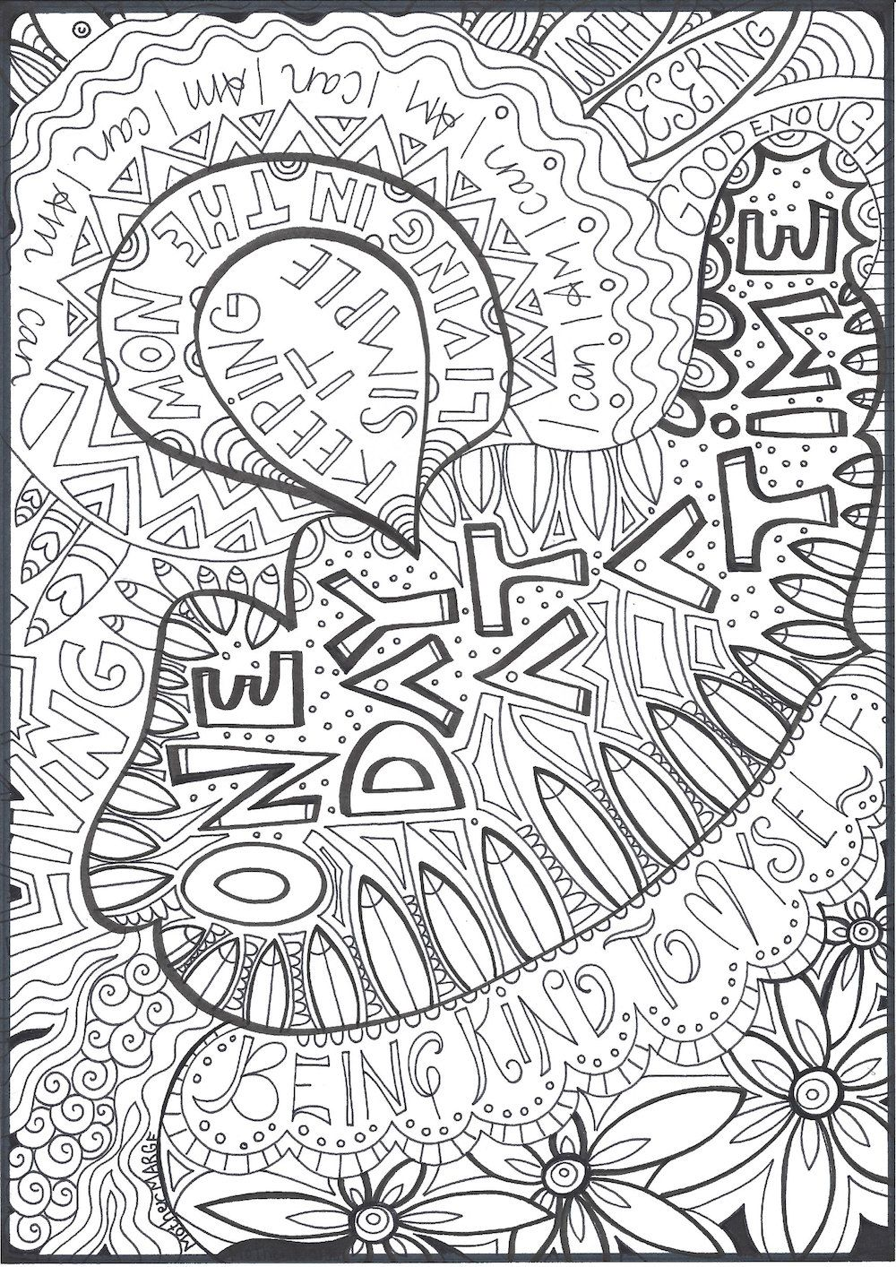 One Day At A Time Coloring Page Download Adult By Mothermargeshop