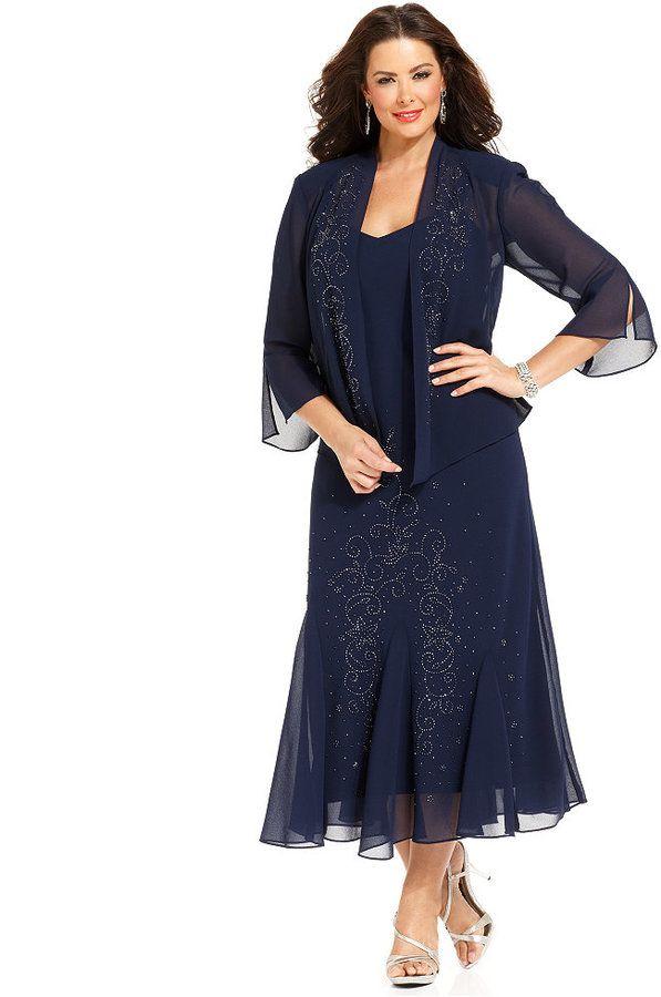 R&M Richards Plus Size Beaded V-Neck Dress and Jacket | Festliche ...