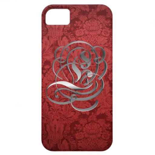 Red Damask Monogram E iPhone 5 Case