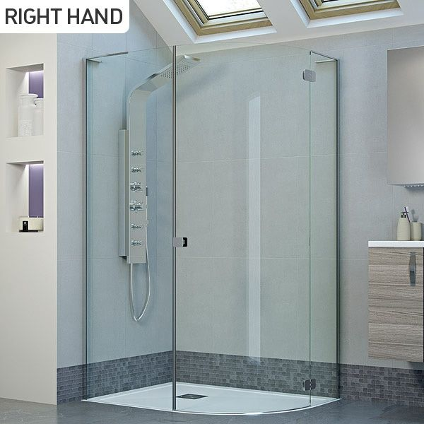 Moods Aspen 8 1200 X 900 Frameless Hinged Offset Quadrant Shower Enclosure Right Hand Die Quadrant Shower Quadrant Shower Enclosures Bathroom Shower Enclosures