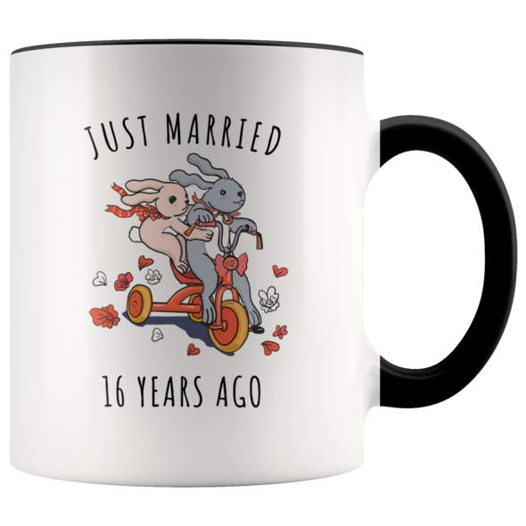 Just Married 16 Years Ago 16th Wedding Anniversary Gift Accent Mug Shop Now Verjaardagscadeaus Gefeliciteerd Trouwdag Jubileum
