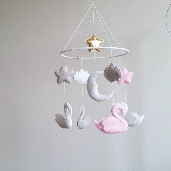Baby Crib Mobile Swan Nursery Kit от Osolka