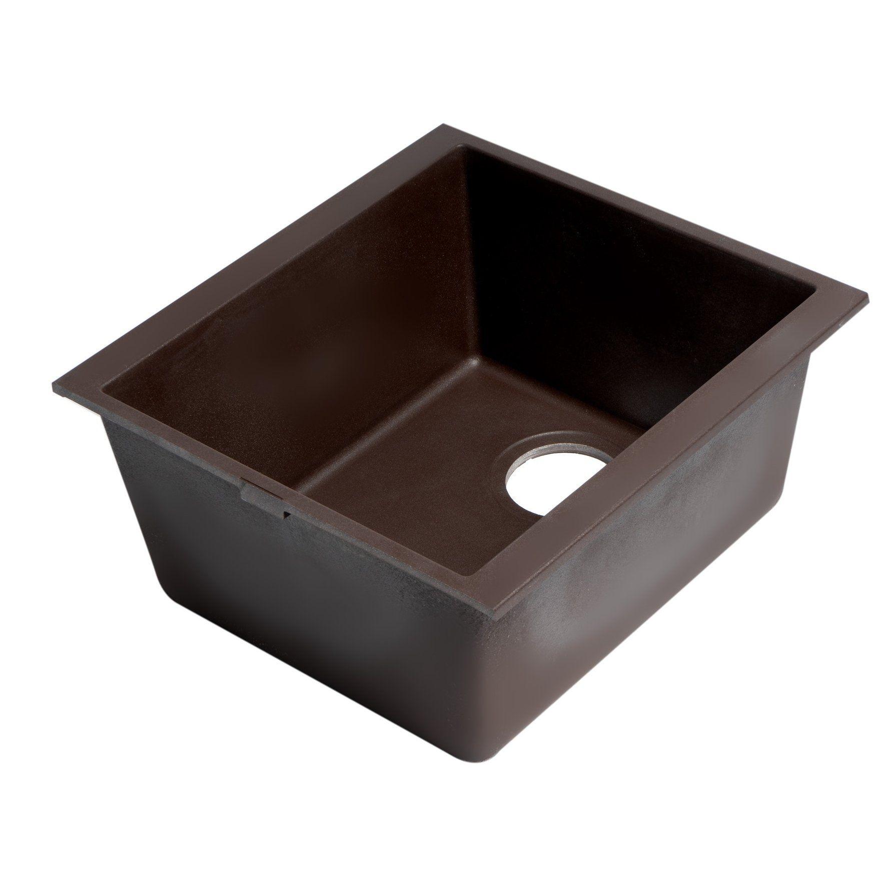 Chocolate 17 Undermount Rectangular Granite Composite Kitchen Prep Sink Brown Alfi Brand Composite Kitchen Sinks Single Bowl Kitchen Sink Sink