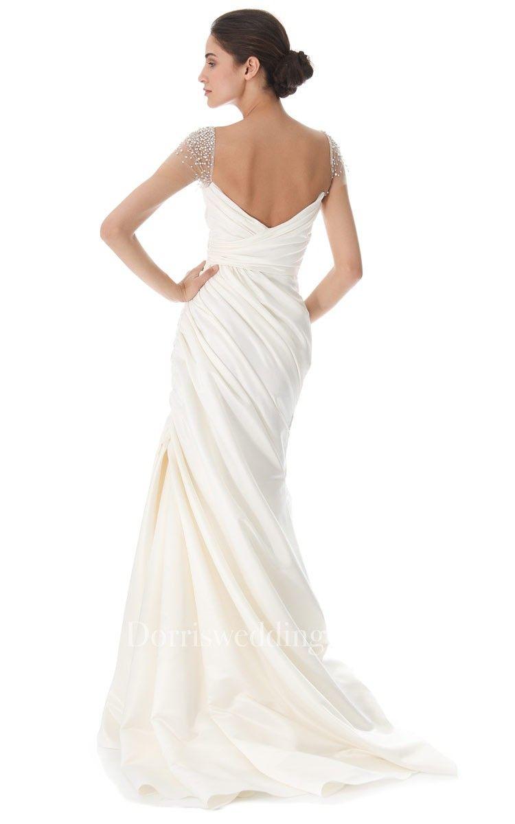Long queen anne aline taffeta dress with lowv back style