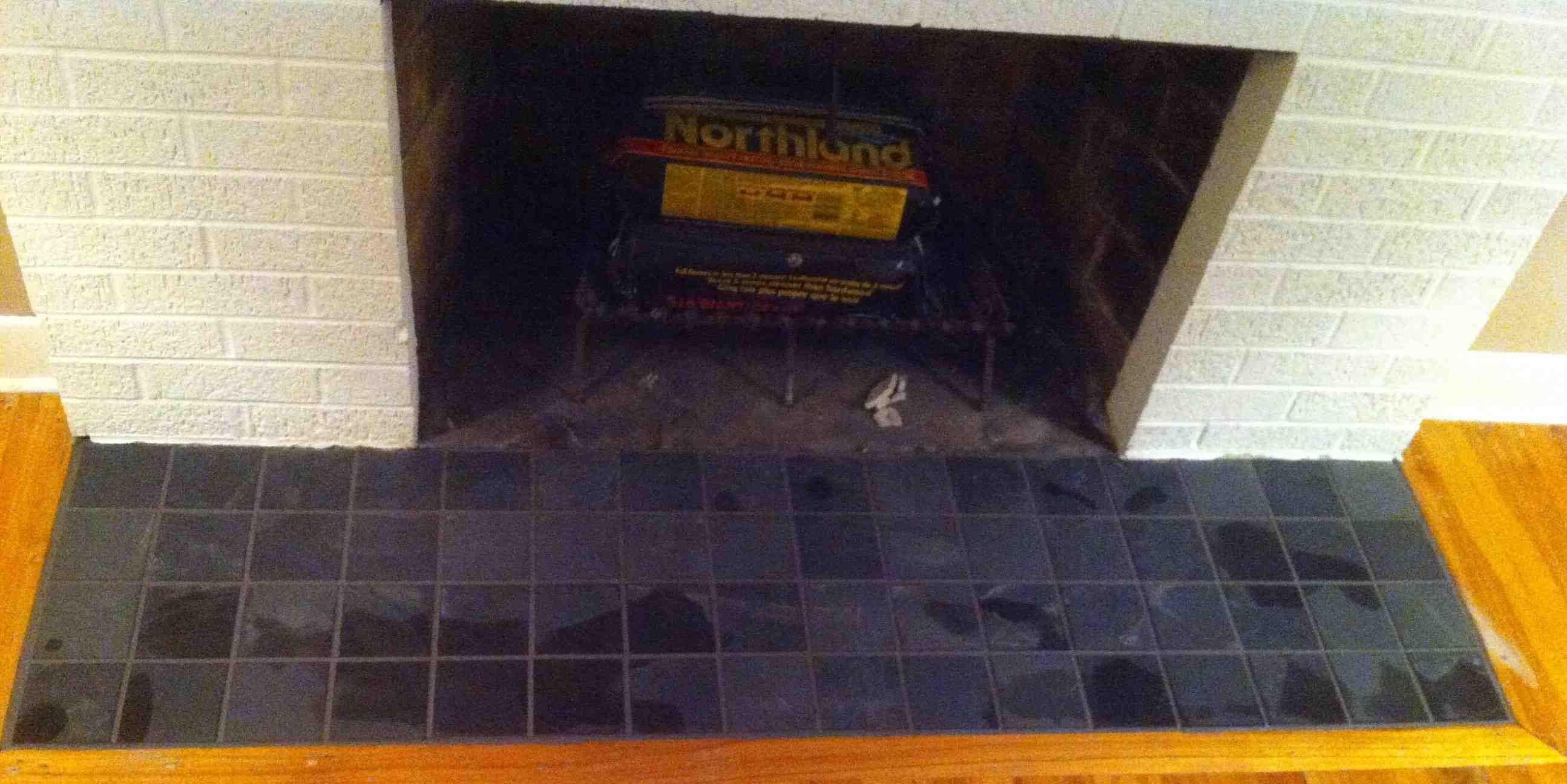 4 X4 Slate In Front Of Fireplace By Stepping Stone And Tile Sst