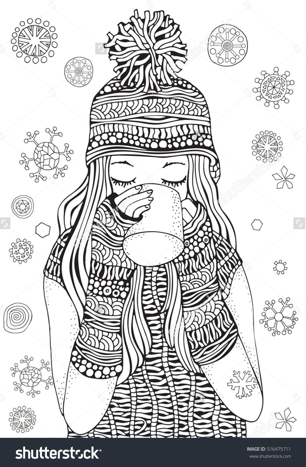 Winter Girl And Gifts Snowflakes Adult Coloring Book Page Hand Drawn Vector