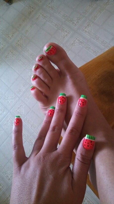 Watermelon Nail Art Matching Nails And Toe Nails Nails And Toes