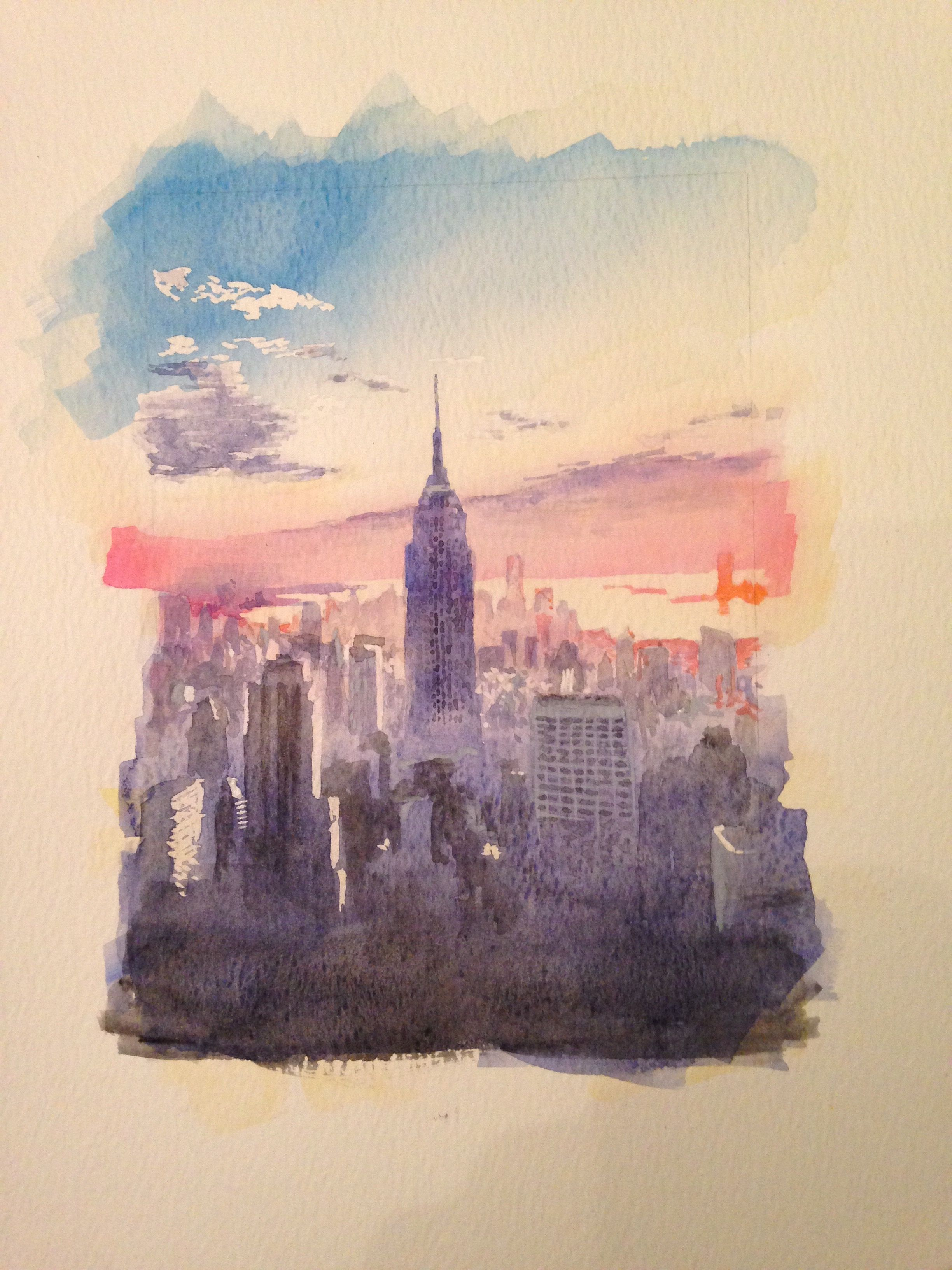 new york watercolour for aunt for christmas