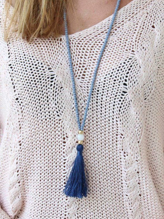 Items similar to Long Beaded Necklace - Grey and Blue Necklace - Tassel Necklace...  ... Necklace