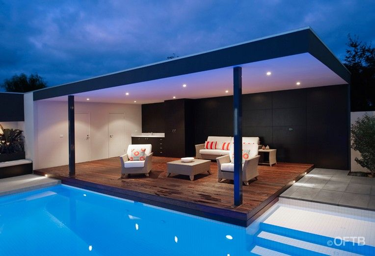 Oftb melbourne landscaping pool design construction for Garage pool house