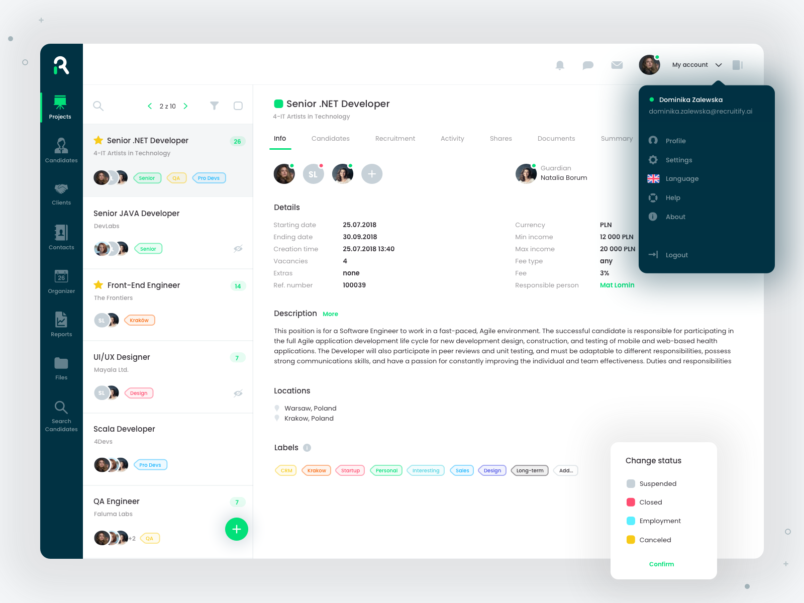 Recruitify projects 1 l swierad | dashboard | Creative web