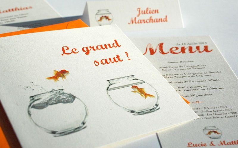 Le grand saut faire part de mariage faire part original poisson couleur orange bleu avec - Faire part mariage theme mer ...