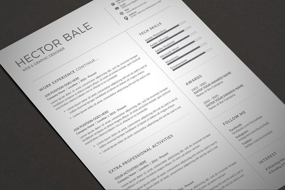 Resume/CV Unique resume template, Cover letter for
