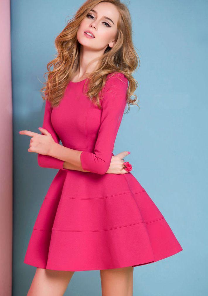 Red Long Sleeve Ruffle Dress   Vestido rosado, Vuelos y Vestiditos