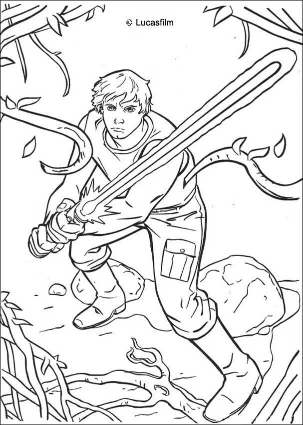 Luke Skywalker On Dagobah Coloring Page Coloring Pages Cartoon