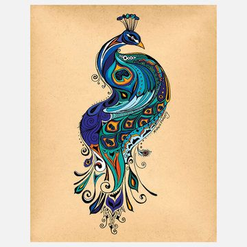 Green Girl Canvas: Peacock 11x14, at 16% off!